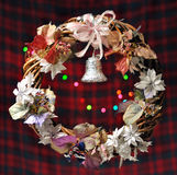 Christmas wreath with bokeh lights Royalty Free Stock Image