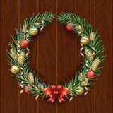 Christmas wreath border. Frame of green pine. Merry Christmas and Happy New Year 2019. Branches of a Christmas tree in the snow. D. New Year`s holiday vector illustration