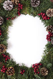Christmas wreath border frame with white copy space Stock Images