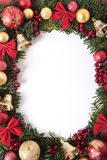 Christmas wreath border frame with white copy space, vertical Royalty Free Stock Photos