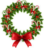 Christmas wreath with bow Royalty Free Stock Photos
