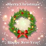 Christmas wreath with bow, balls and ribbons, New Year greeting card. Royalty Free Stock Photo