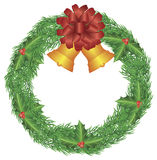 Christmas Wreath with Bow and Bells Illustration Royalty Free Stock Photo
