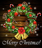 Christmas wreath and bow Stock Photography