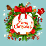 Christmas wreath with bow festive poster Royalty Free Stock Photos