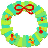 Christmas wreath with bow frame Royalty Free Stock Photos