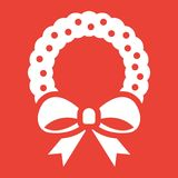 Christmas wreath with bow glyph icon, New year. And Christmas, xmas sign vector graphics, a solid pattern on a red background, eps 10 Royalty Free Stock Images