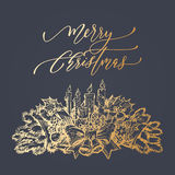 Christmas wreath bow of gold glitter for greeting card Stock Photos