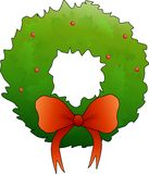 Christmas Wreath with Bow Stock Images