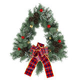 Christmas wreath with bow isolated Stock Photo