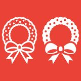 Christmas wreath with bow line and glyph icon. New year and Christmas, xmas sign vector graphics, a linear pattern on a red background, eps 10 Stock Photos