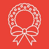 Christmas wreath with bow line icon, New year. And Christmas, xmas sign vector graphics, a linear pattern on a red background, eps 10 Stock Photography