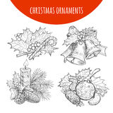 Christmas wreath bows, bells, candle vector sketch Royalty Free Stock Photo