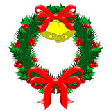 Christmas Wreath with bows and bells. Christmas Wreath of holly, berries and mistletoe with red bows and golden bells Stock Photo