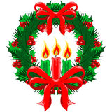 Christmas Wreath with bows and candles Stock Photography