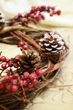 Christmas wreath branches. On the art background Stock Photography