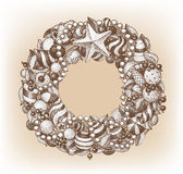 Christmas Wreath. On a brown background Royalty Free Stock Photo