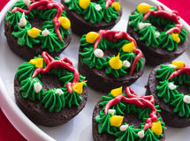 Christmas Wreath Brownies Stock Photos