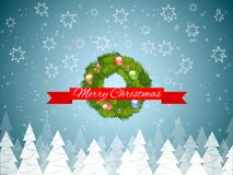 Christmas wreath with bubble toys and gold stars with trees in forest. Vector illustration. royalty free illustration