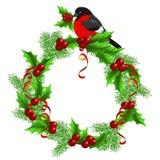 Christmas  wreath  with bullfinch Stock Photography