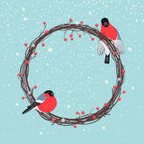 Christmas Wreath with Bullfinches Stock Photo