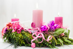 Christmas wreath with burning candles Royalty Free Stock Photo