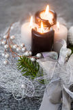Christmas wreath with burning candles Royalty Free Stock Photos