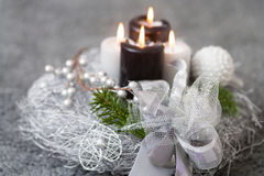 Christmas wreath with burning candles Stock Photo