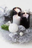 Christmas wreath with burning candles Royalty Free Stock Images