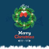 Christmas wreath with calligraphic and typographic design Royalty Free Stock Image