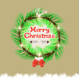 Christmas wreath with calligraphic and typographic design Royalty Free Stock Photos