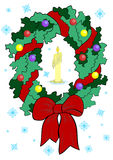 Christmas wreath with candle Royalty Free Stock Image