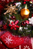 Christmas wreath with candle Royalty Free Stock Photo