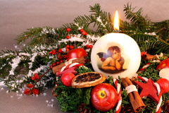 Christmas wreath with candle and angel Stock Image