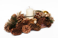 Christmas wreath with candle and cones Stock Image