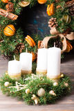 Christmas wreath candle Royalty Free Stock Images