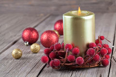 Christmas wreath with a candle Royalty Free Stock Photography