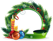Christmas Wreath with candles and baubles Royalty Free Stock Image