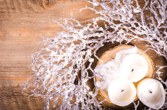 Christmas wreath and candles, New Year decoration Royalty Free Stock Photo