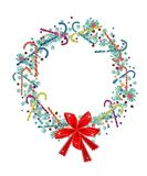 Christmas Wreath with Candy Canes and Red Bow. Christmas Wreath Decorated with Red Bows, Stars, Candy Canes, Ornaments and Snowflake, Sign for Christmas Stock Photos