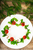 Christmas wreath caprese salad festive appetizer on a white plat Royalty Free Stock Images