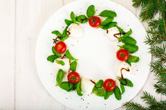 Christmas wreath caprese salad festive appetizer on a white plat Royalty Free Stock Image