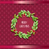Christmas wreath card Stock Image
