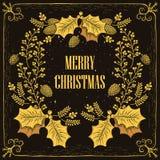 Christmas wreath card Royalty Free Stock Photos