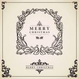 Christmas wreath card . Stock Photos