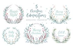 Christmas wreath card. Winter Watercolor painting illustration. Berry wreath for Christmas greeting. New year holiday. Christmas wreath card. Winter Watercolor royalty free illustration