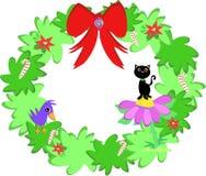 Christmas Wreath with Cat and Bird Stock Photos