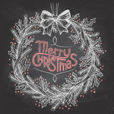 Christmas wreath with chalk Royalty Free Stock Photography