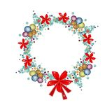 Christmas Wreath of Christmas Balls and Red Bows Stock Images