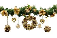 Christmas wreath. Christmas decorations. Isolated, white background stock image